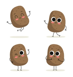 Potato Cute vegetable character set isolated on vector image