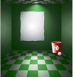 Room with recycle bin vector image