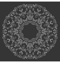 Round lacy pattern on black background vector