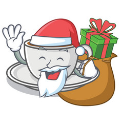Santa with gift coffee character cartoon style vector