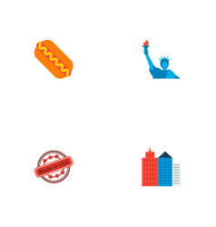Set of america icons flat style symbols with made vector