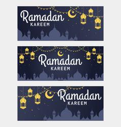 Set of ramadan kareem horizontal banner vector
