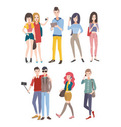 set young people guys and girls communicating by vector image