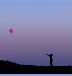 Silhouette of children with balloon vector