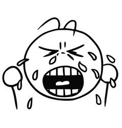 smiley cartoon of crying face tears and cry vector image vector image