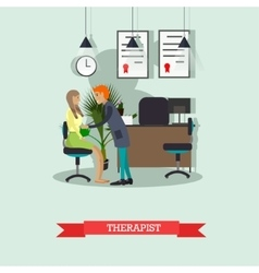 Therapist doctor conduct patient medical check up vector