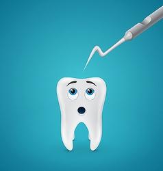 Tooth afraid dental probe vector