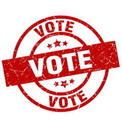 vote round red grunge stamp vector image vector image