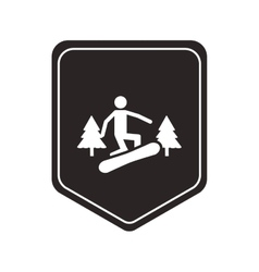 Snowboarding pictogram icon shield emblem vector