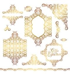 set of floral golden eastern decor frame elements vector image