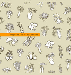 Seamless pattern - vegetables and mushrooms vector