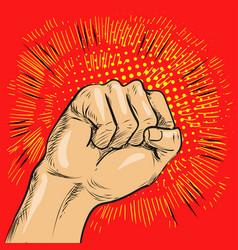 Pop art fist hitting or vector