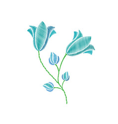 Flowers embroidery on white background vector