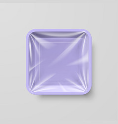 Empty purple plastic food square container on gray vector