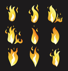 set of animation fire and variou vector image