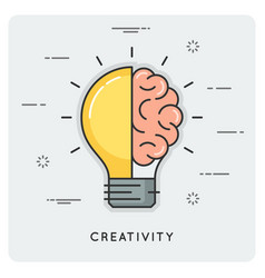Idea and creativity thin line concept vector
