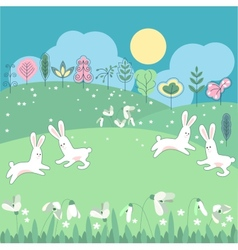 Meadow with spring flowers and funny rabbits vector