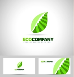 Leaf logo and stairs concept vector