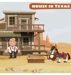 Wooden two-storey house of a cowboy in texas vector