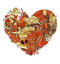 Gold and red heart vector