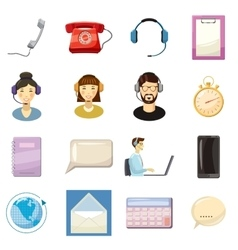 Call center icons set cartoon style vector