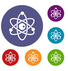 atomic model icons set vector image