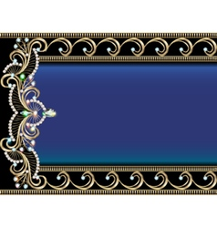 background with Golden ornaments with precious sto vector image