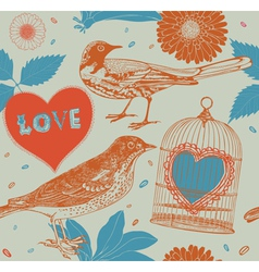 Birds and cages vector