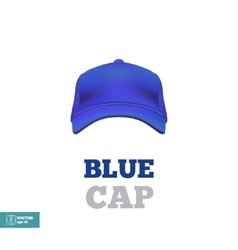 Blue baseball cap template Front view vector image