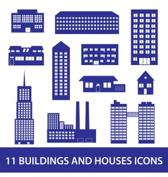 buildings and houses icon set eps10 vector image