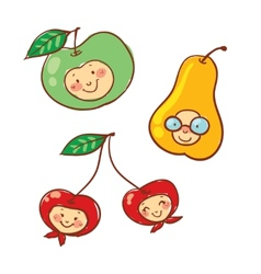 Cartoon fruit characters isolated vector image vector image