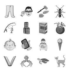 Cat animal building and other web icon in vector