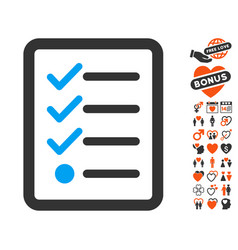 Checklist icon with lovely bonus vector