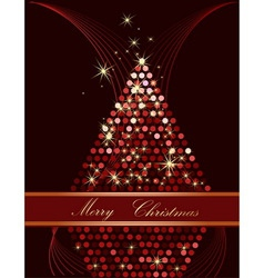 Christmas tree gold and red vector image vector image