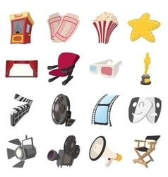 Cinema cartoon icons set vector image