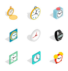 clock icons isometric 3d style vector image vector image