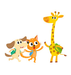 cute animal student characters cat dog and vector image vector image