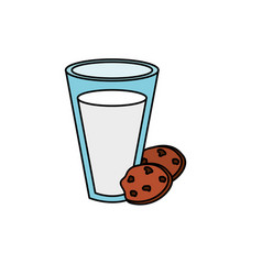 Delicious milk with chocolate cookies vector