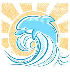 Dolphin jumping in water waves vector