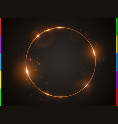 golden frame with light effect flare and vector image