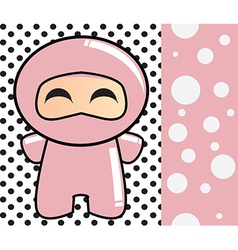 Happy birthday card with cute cartoon ninja vector image vector image