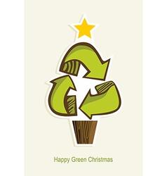Happy Green Christmas tree vector image vector image