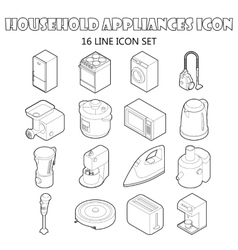 Household appliance icons set outline style vector image