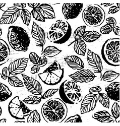 ink hand drawn tea with lemon seamless pattern vector image