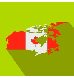 Map of Canada with the image of the national flag vector image vector image
