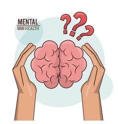 Mental health hand holding brain human with vector
