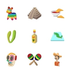 Mexico icons set cartoon style vector