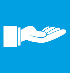 outstretched hand gesture icon white vector image