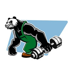 Panda Grab Dumbbell vector image
