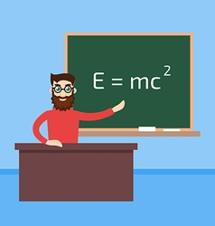 Physics teacher in the classroom vector